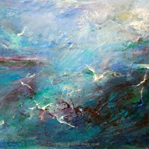 Blue Seascape and Gulls by Maia Spall