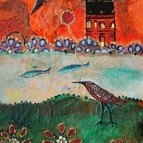 Crane Walking - collage by Sofiah Garrard