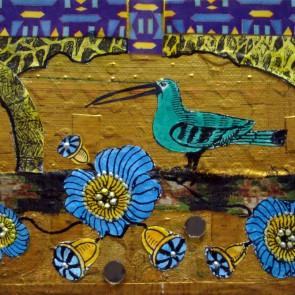 Green Bird - collage by Sofiah Garrard