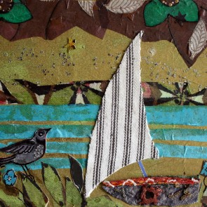 Little Boat Waiting - collage by Sofiah Garrard