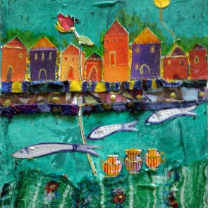 Three Fish - collage by Sofiah Garrard
