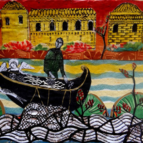 The Angel and the Fishermanel - collage by Sofiah Garrard