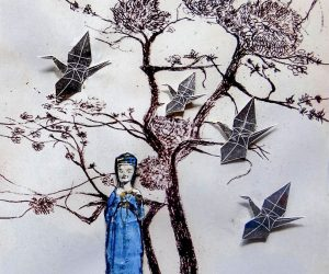 Lady with Origami Birds