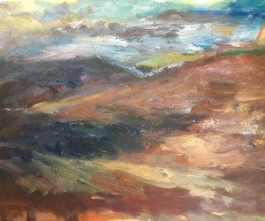 Moors near Osmotherly (oil on card)