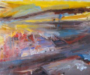 Nightfall, Teesside (oil on canvas, framed)