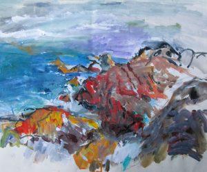 Red Rocks, West Coast, Iona (watercolour)
