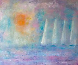 Sun and sails (acrylic & oils on board)