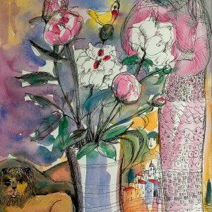 Watercolour & Indian Silk (40x50cm)