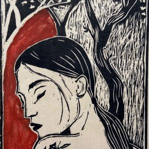'Under-the-Blossom-Trees'-2020-coloured-woodcut-unframed,-18cm-x-13cm-ed